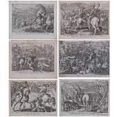Jan van der Straet (1523-1605) A Group of Six Battle