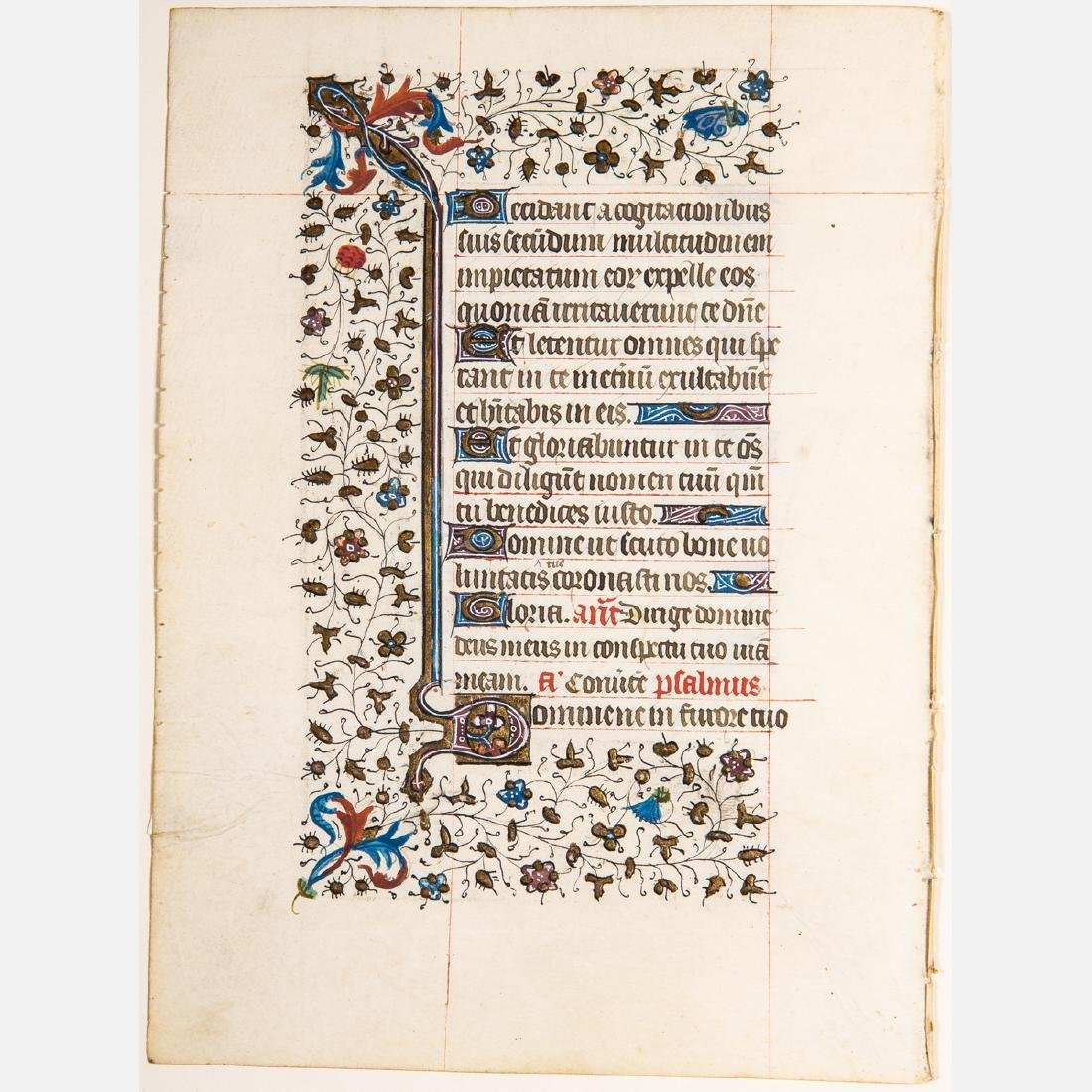 A French Illuminated Manuscript Leaf, ca. 1435 A.D.,