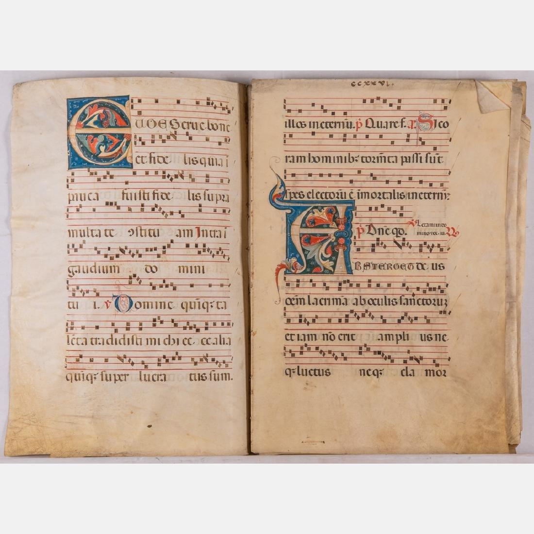 An Italian Fifteen Page Illuminated Musical Choir Book