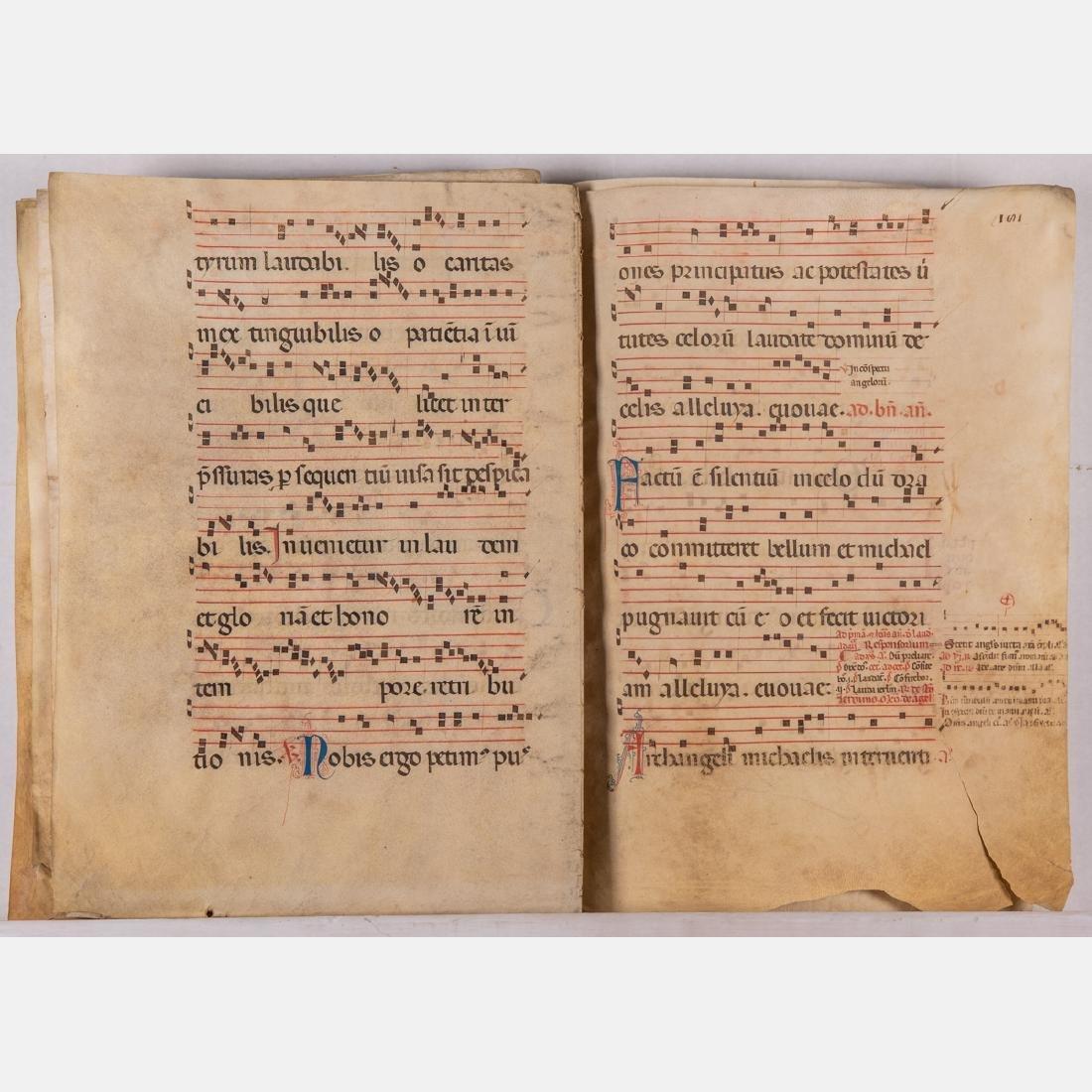 An Italian Fifteen Page Illuminated Musical Choir Book - 3