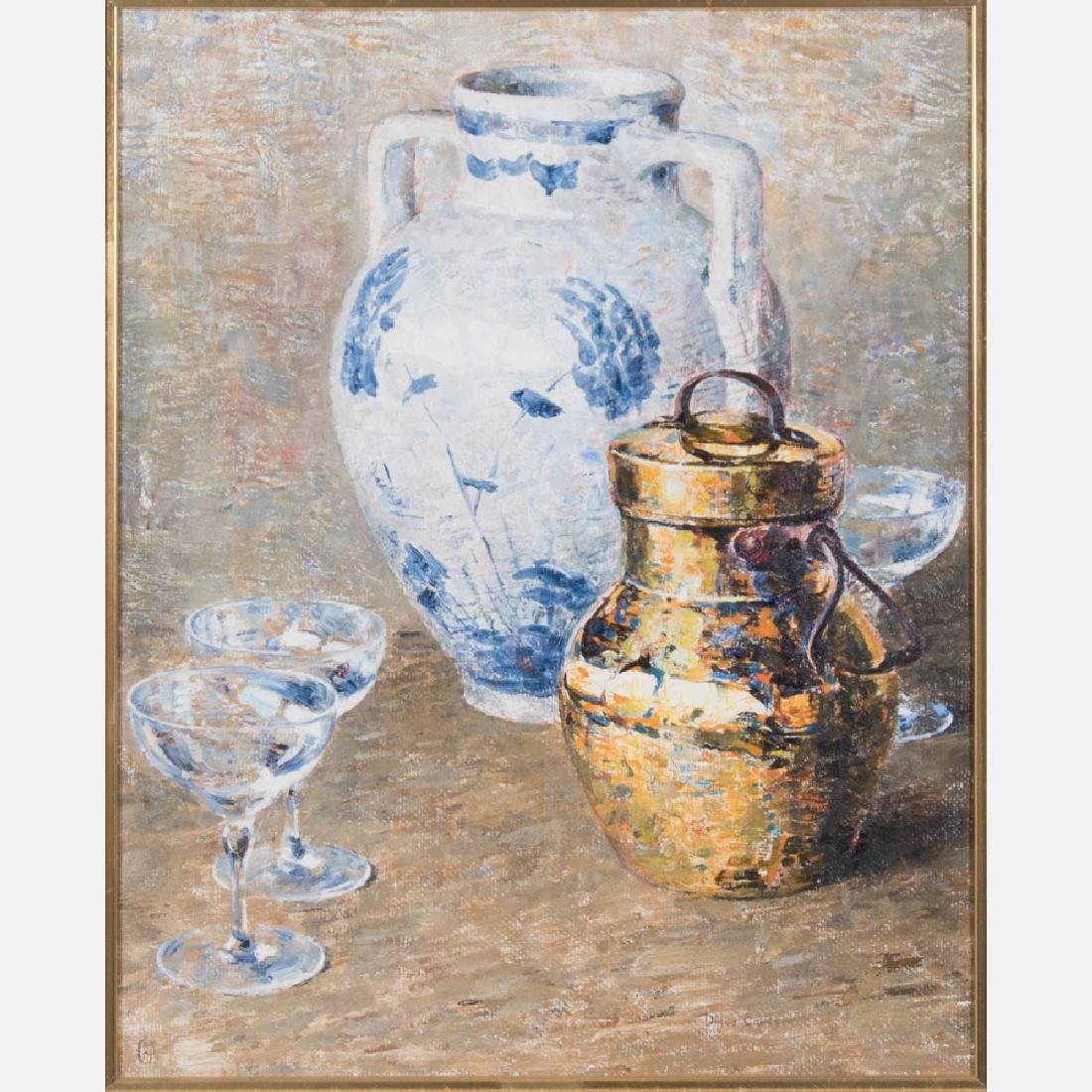 Dines Carlsen (1901-1966) Still Life with Vase, Oil on