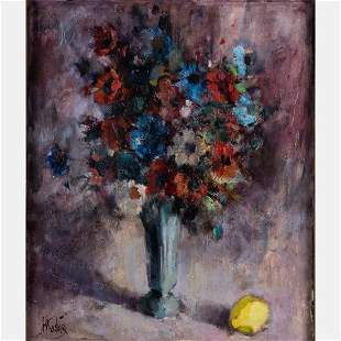 H Koster 20th Century Floral Still Life with Lemon