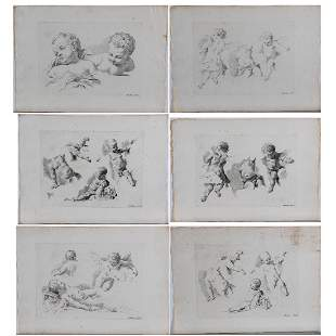 A Group of Six Etchings Depicting Putti by Various