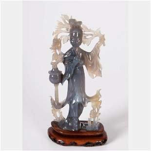 A Chinese Carved Blue Agate Figure of Guanyin