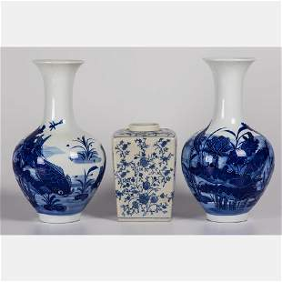 A Pair of Chinese Blue and White Porcelain Vases 20th
