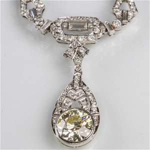 A 14kt. White Gold and Diamond Drop Pendant Necklace,