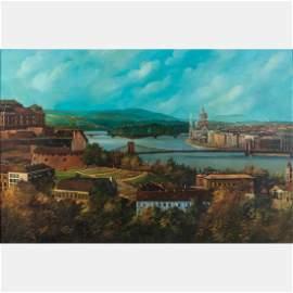 Imre Buvary (20th Century) Budapest on the Danube, Oil