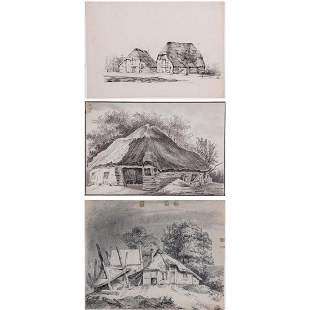 A Group of Three Drawings by Various Artists 19th