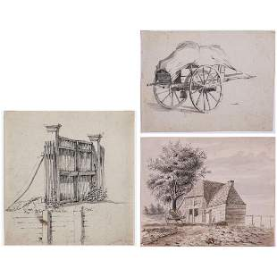 A Group of Three Drawings of Landscapes by Various