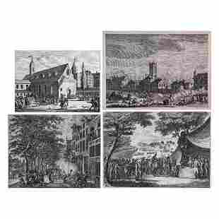 A Group of Four Etchings Depicting Battle Scenes by