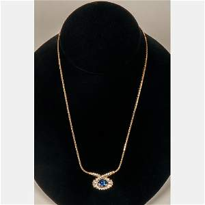 A 14kt. Yellow Gold and Tanzanite Necklace,