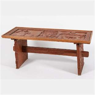 A Nigeria Benin Carved Wood Table 20th Century