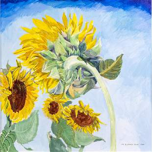 Ivy Goldhamer Stone b 1917 Sunflowers 1994 Oil on