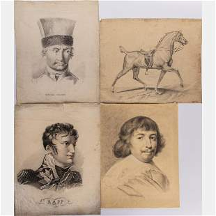 A Group of Four Drawings by Various Artists 19th