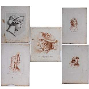 A Group of Five Drawings and Prints by Various Artists