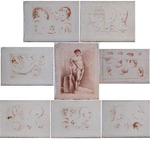 A Group of Eight Etchings and Prints of Academic