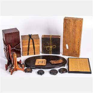 A Miscellaneous Collection of Asian Wooden Boxes and
