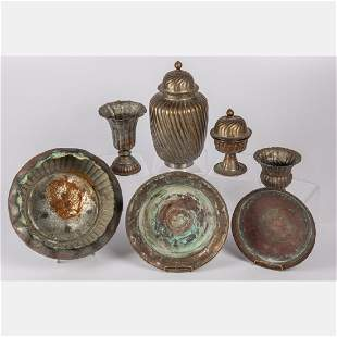 A Collection of Chinese Hammered Copper Decorative