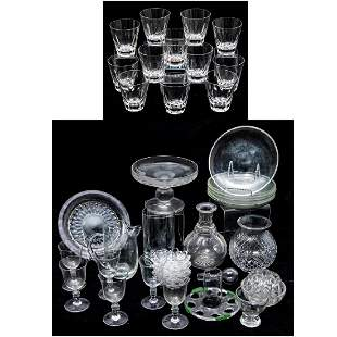 A Collection of Etched and Molded Clear Glass Serving