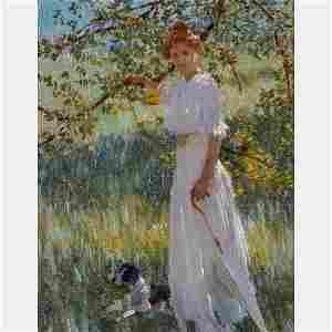 Edward Dufner (American, 1871-1957) Sunlit Portrait,