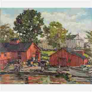 Arthur J. Laws (American, 1894-1960) Harbor Scene, Oil