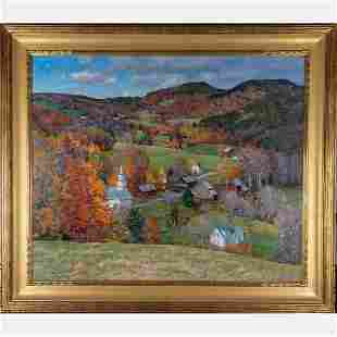 T.M. Nicholas (American, b. 1963) Village Scene, Oil on