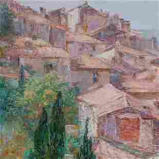 Theresa Knowles (American, 1918-2008) Village, Oil on