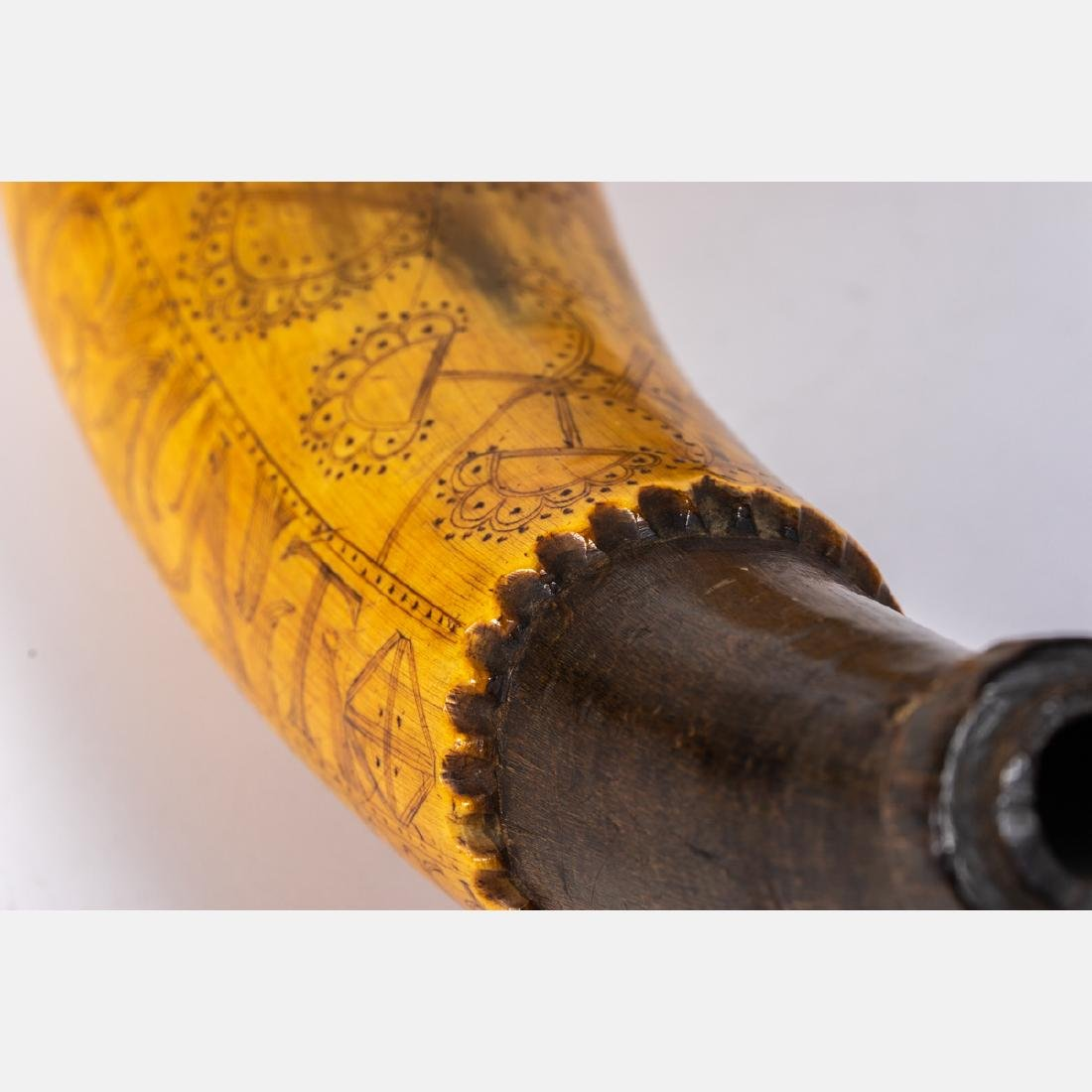 An Engraved French and Indian War Period Powder Horn, - 4