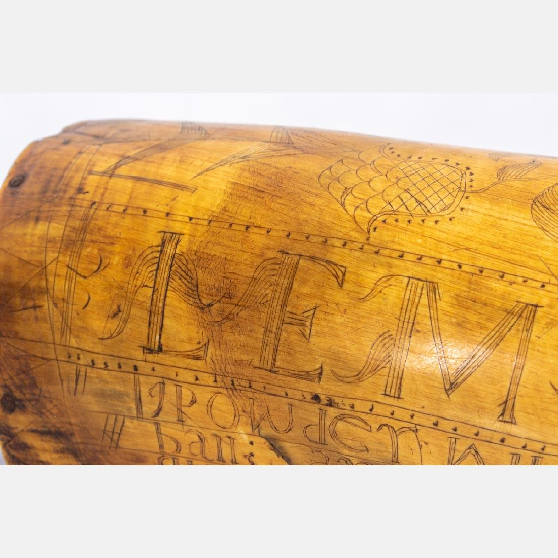 An Engraved French and Indian War Period Powder Horn, - 6