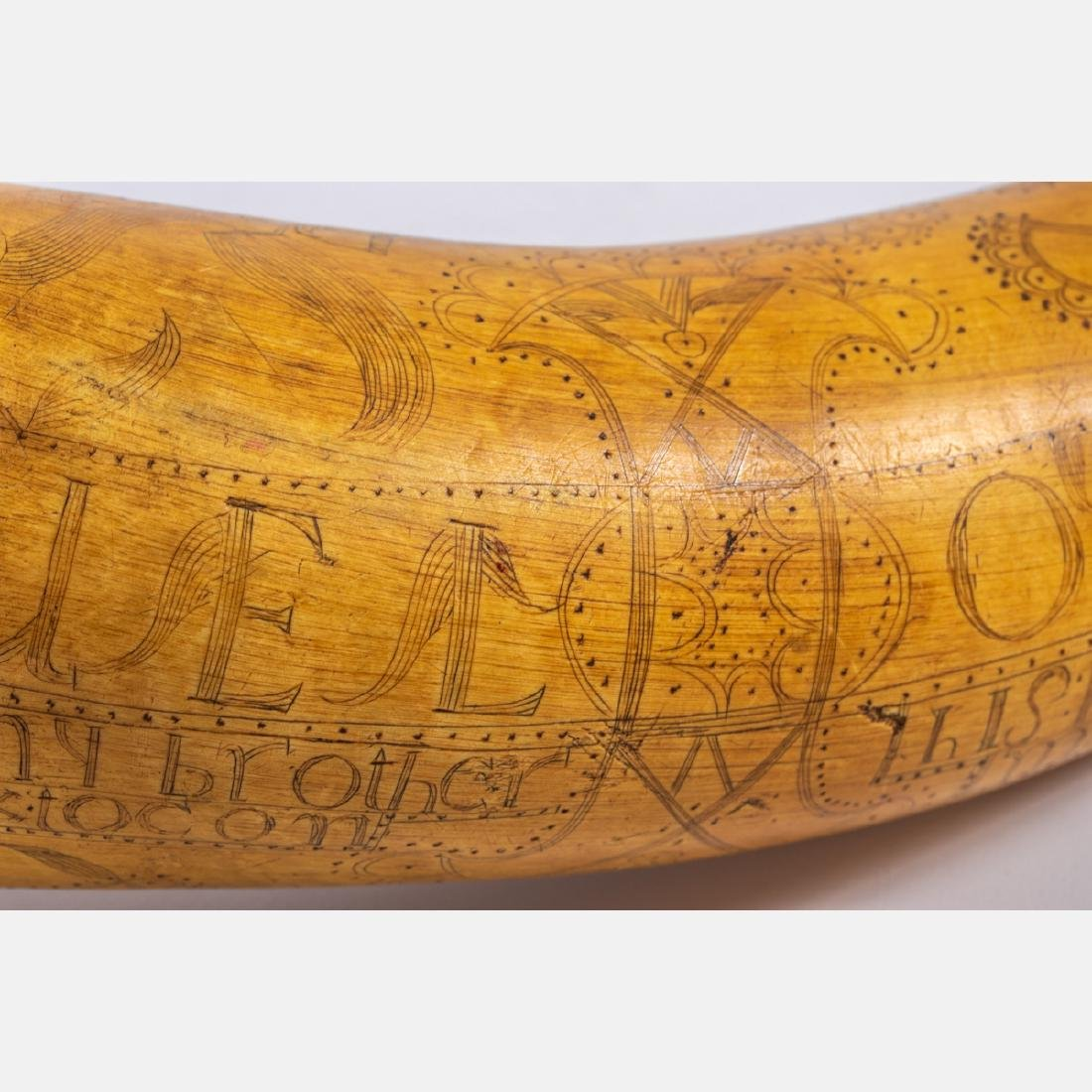 An Engraved French and Indian War Period Powder Horn, - 8