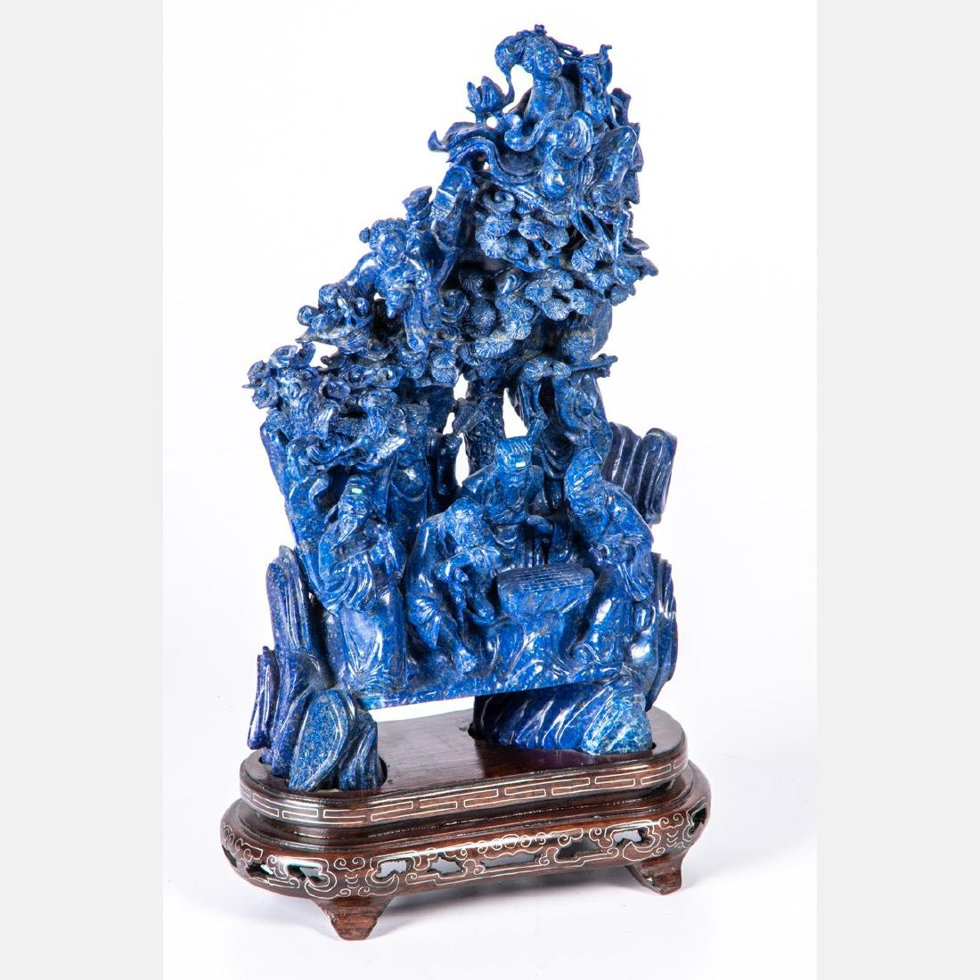 A Chinese Carved Lapis Figural Group with Carved