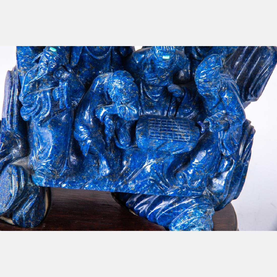 A Chinese Carved Lapis Figural Group with Carved - 2
