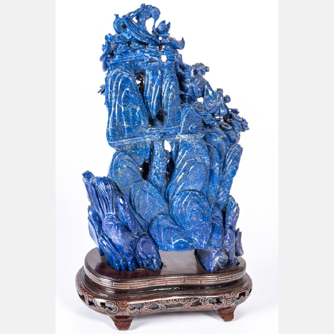 A Chinese Carved Lapis Figural Group with Carved - 3