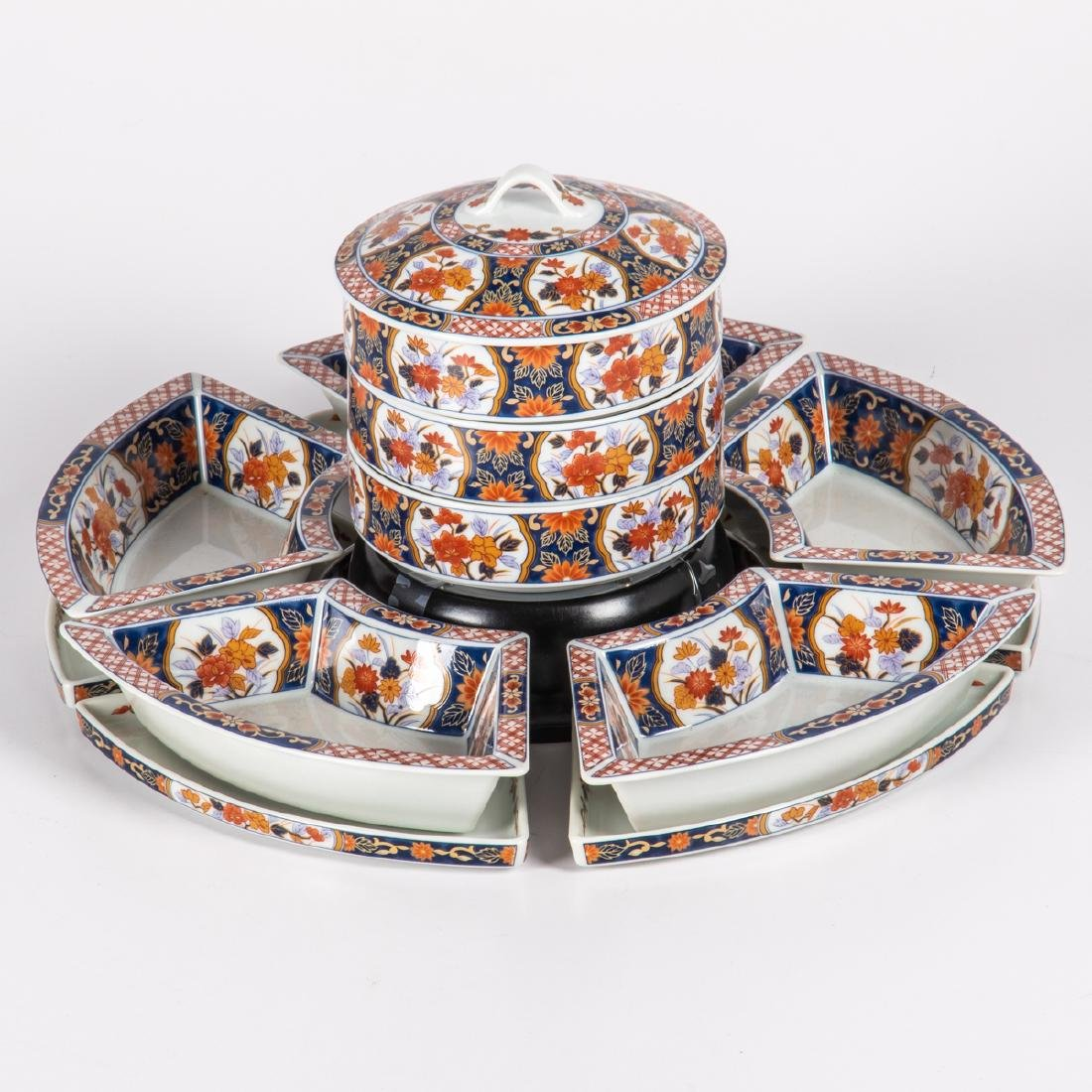 A Japanese Imari Porcelain Jubako Set with Lazy Susan,