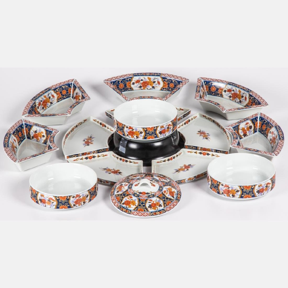 A Japanese Imari Porcelain Jubako Set with Lazy Susan, - 2