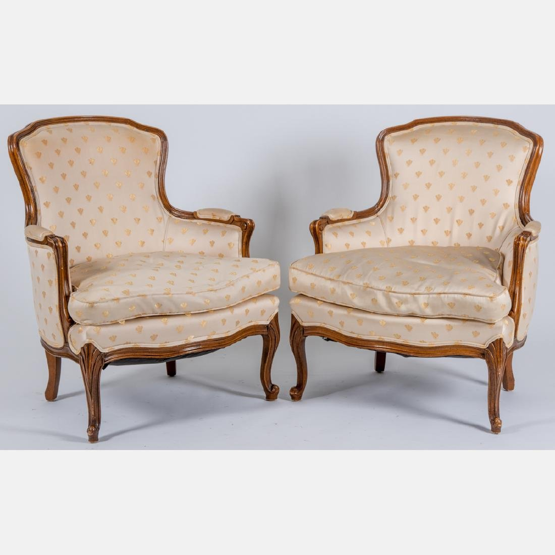 A Pair of Louis XV Style Bergeres by Meyer, Gunther and
