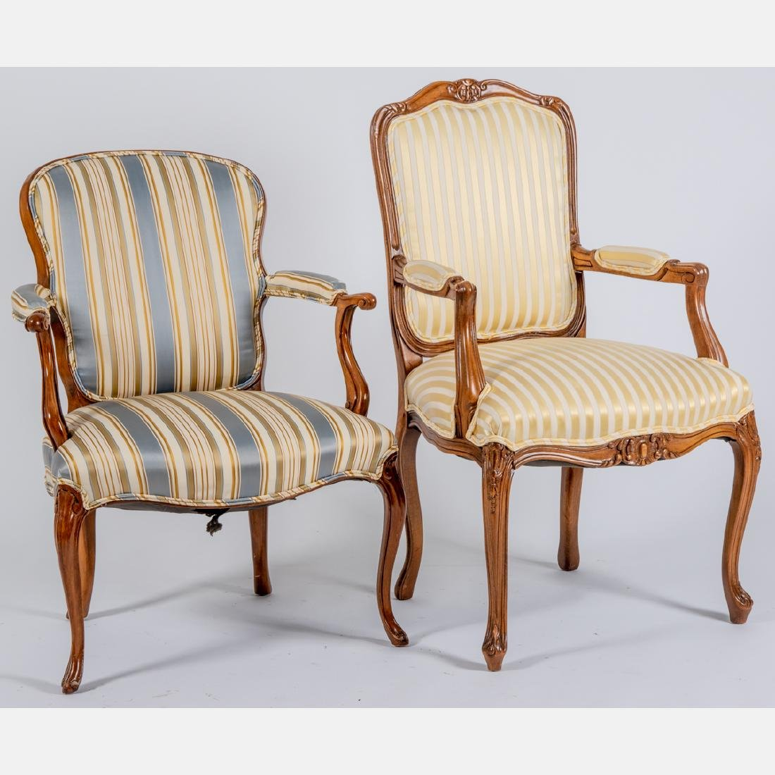 Two Louis XV Style Upholstered Fauteuils, 20th Century