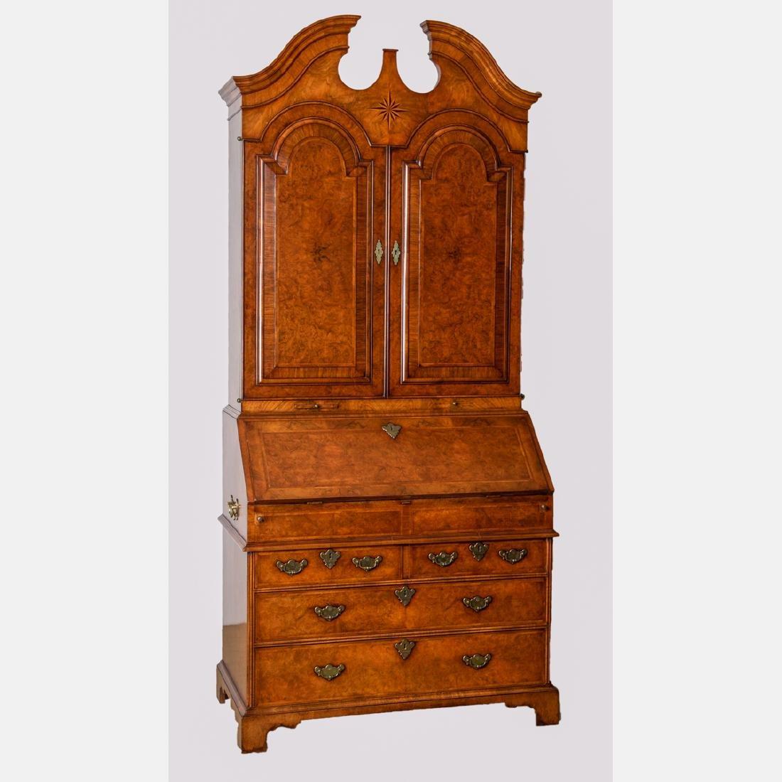 A Georgian Style Mahogany and Walnut Secretary Bookcase