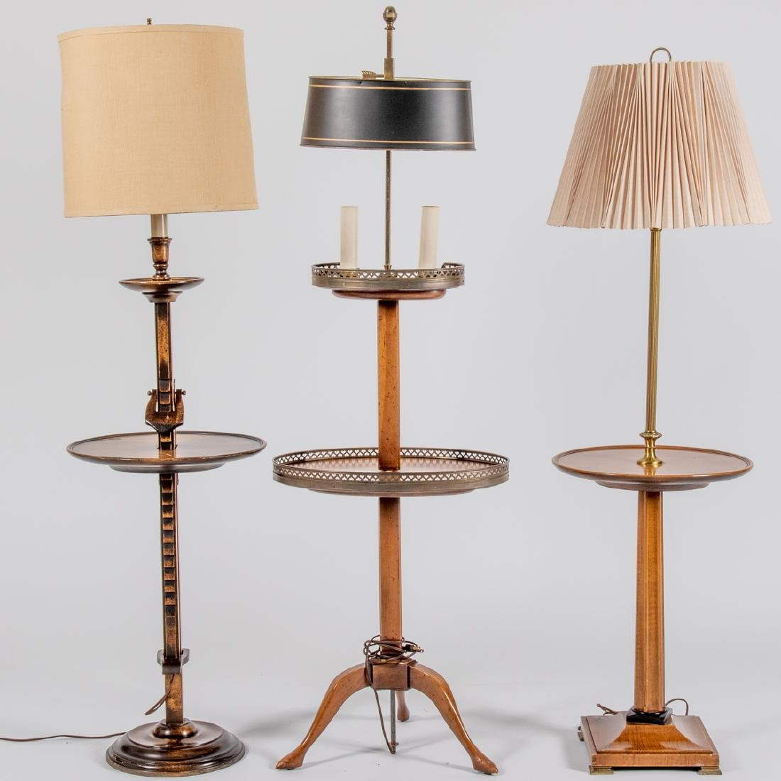 A Group of Three Brass and Wood Floor Lamps, 20th