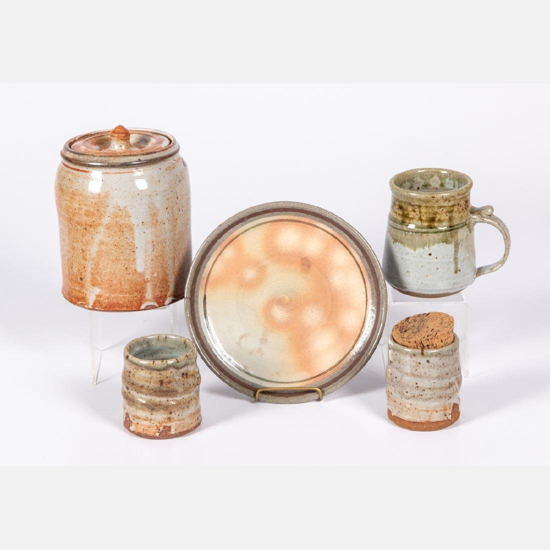 A Group of Five Glazed Earthenware and Stoneware
