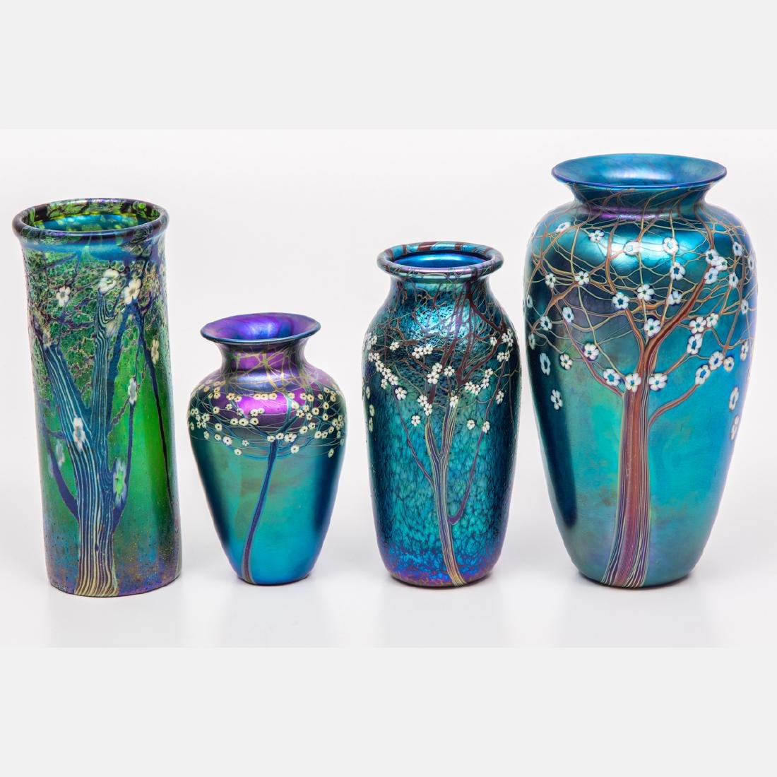 A Group of Four Orient & Flume Hawthorn Tree Art Glass