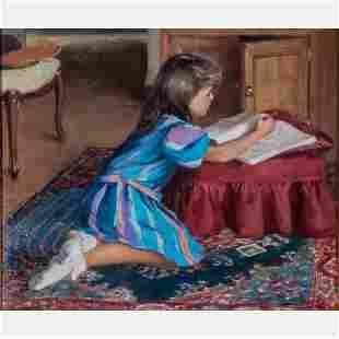 Allan R. Banks (American, b. 1948) Girl Drawing, Oil on