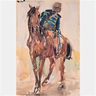 János Vaszary (Hungarian, 1867-1939) Hussar, Watercolor
