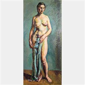 Duncan Grant (Scottish, 1885-1978) Standing Nude, Oil