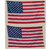 Two Vintage 50Star United States Cotton Display Flags