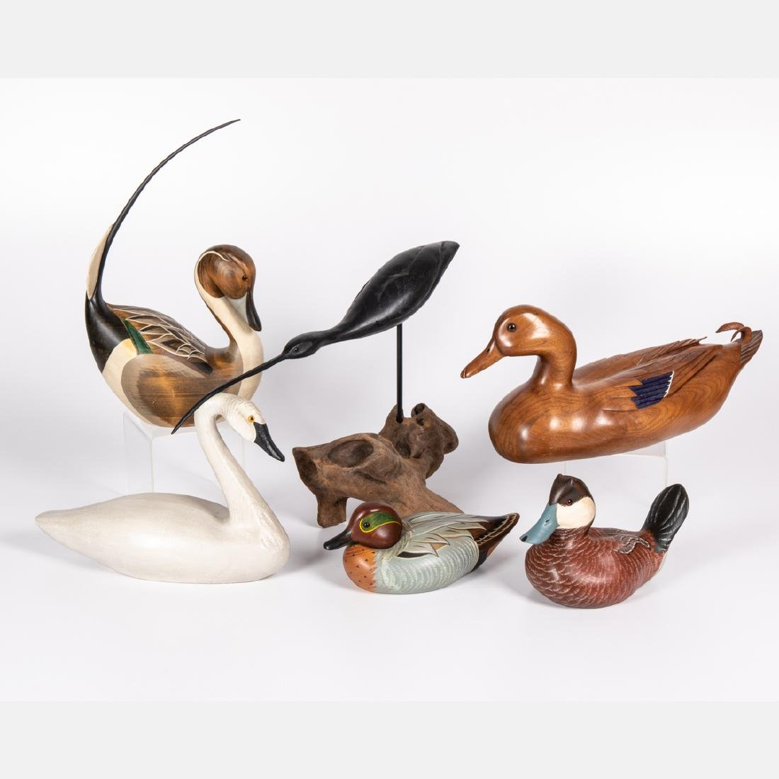 A Group of Six Carved and Painted Hardwood Waterfowl by