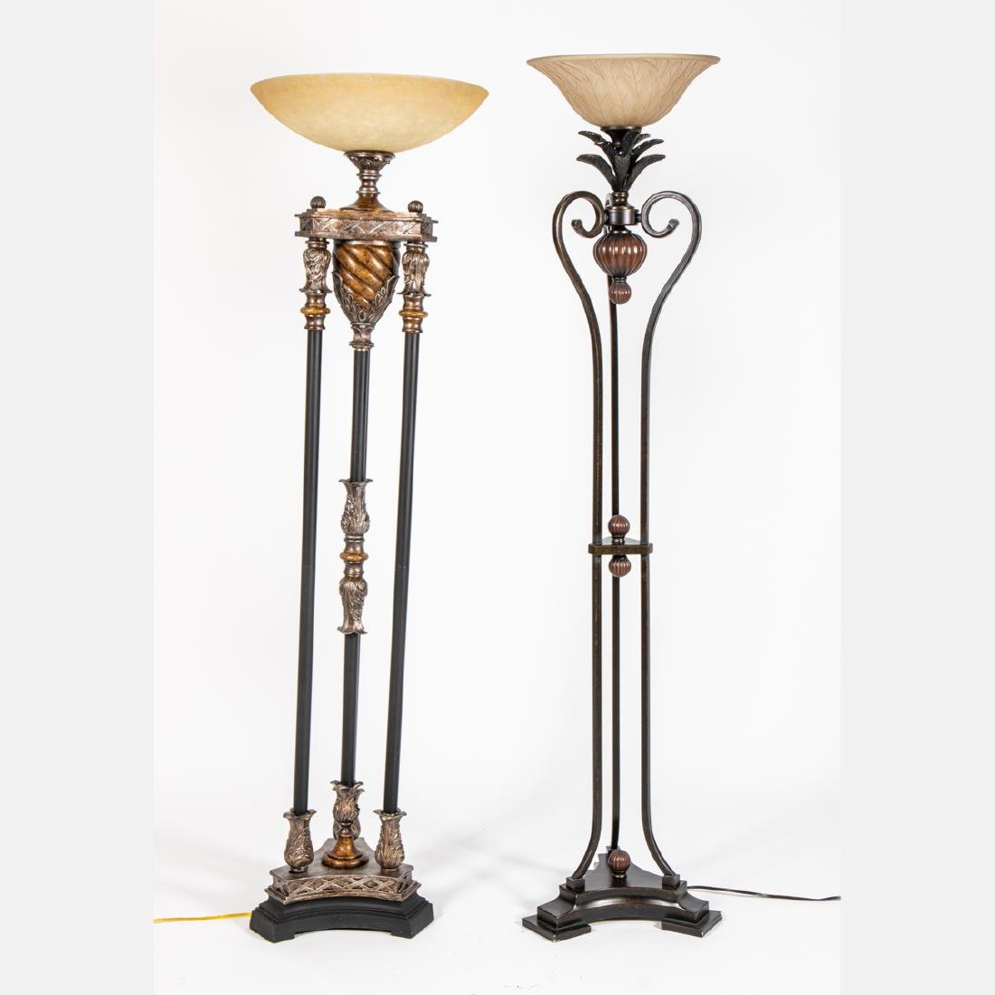 Two Neoclassical Style Patinated Metal and Stained Wood