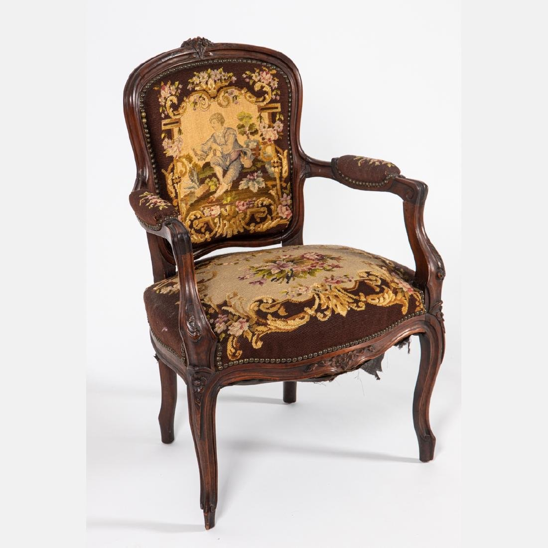 A French Provincial Style Walnut Fauteuil with