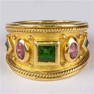 An 18kt. Yellow Gold, Peridot, Pink Tourmaline and