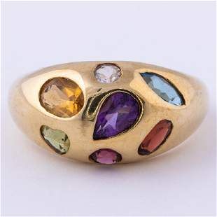 A 14kt. Yellow Gold and Colored Stone Ring,